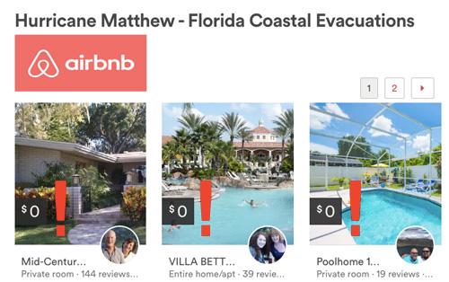 сервис Airbnb помогает пострадавшим от урагана