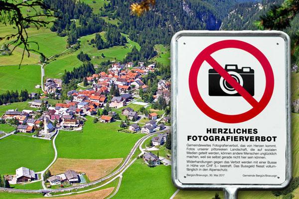 в швейцарской деревне Бюрген штрафуют за фото