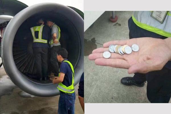 китайская старушка бросила монеты в турбину самолета