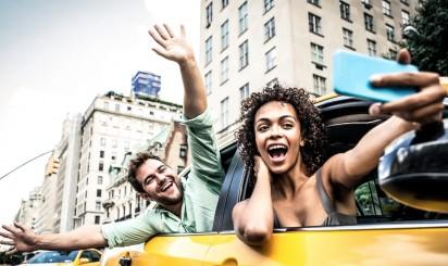 Счастливая пара в Нью Йорке