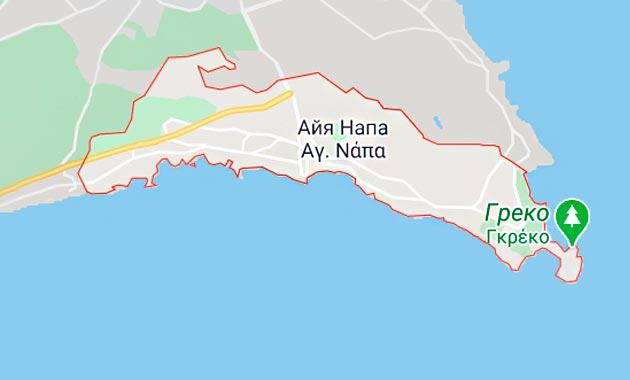 Карта Айя-Напы, Кипр